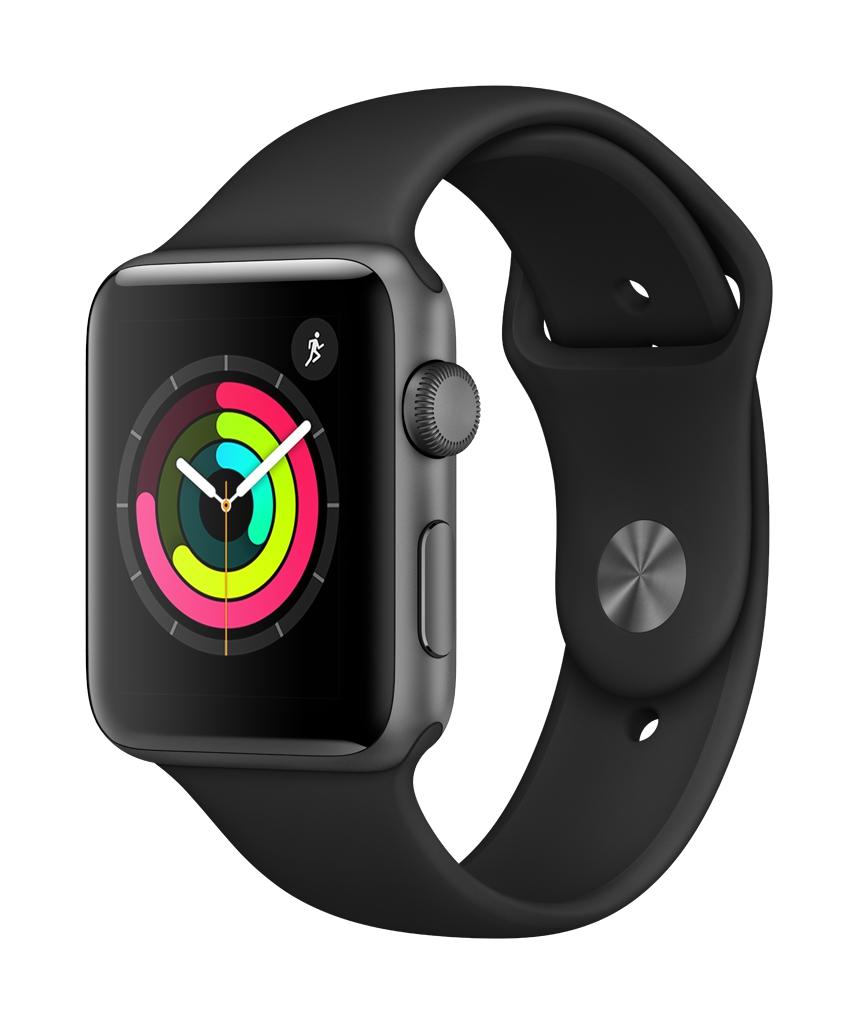 Apple Watch Series 3 Aluminium Case With Black Sport Band 42mm