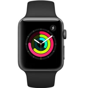 Apple Watch Series 3 Aluminium Case With Black Sport Band 42mm